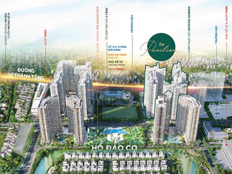 Chung cư The Pavilion gồm 4 tòa căn hộ P1, P2, P3, P4 với tổng cộng 2600 căn hộ