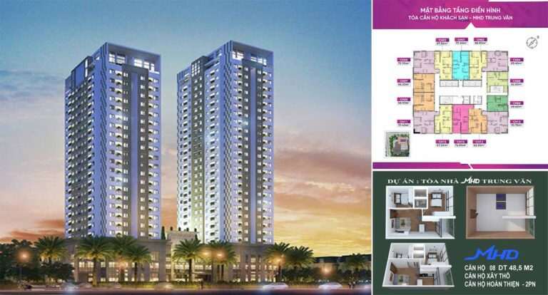 Chung cư MHD Trung Văn gồm2 tòa tháp đôi cao 22-24 tầng