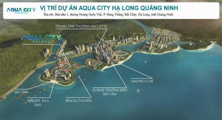 Dự án Aqua City Hạ Long có vị trí nằm trên đường Bao Biển liên thông 3 Bán Đảo